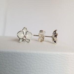 Pandora Orchid Earrings, White Enamel & CZ Silver